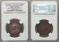 "Victoria silver ""Diamond Jubilee"" Medal AU58 NGC, Lima mint. 29mm. Valparaiso, Chile Diamond Jubilee Celebration, struck in tribute to the 60th annive..."