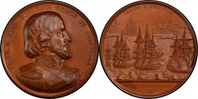 "Prince of Joinville Ferdinand of Orléans bronze Specimen ""Bombardment of Tangier and Mogador"" Medal 1844 SP65 Brown PCGS, Collignon-1382. 52.81mm. 73...."