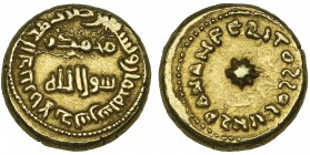 ARAB-LATIN, TEMP. SULAYMAN (96-99h) Gold solidus/dinar, al-Andalus 98h Obverse: In margin: mint and date; in field: Muhammad ra- | sul Allah Reverse: ...