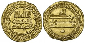 ABBASID, TEMP. AL-MA'MUN (194-218h) Dinar, without mint-name, 210h Obverse: Reform type with double marginal legends Reverse: letter mim below, double...
