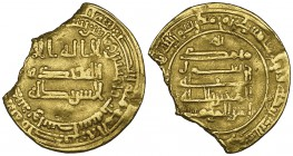 ABBASID, AL-MU'TAZZ (251-255h) Dinar, Wasit 253h Obverse: without name of heir Weight: 3.46g Reference: cf Bernardi type 162 (for which Wasit is not r...