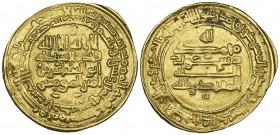 ABBASID, AL-MUQTADIR (295-320h) Dinar, Ardabil 318h Obverse: In field: legends in four lines, letter ra above, two pellets below Reverse: In field: pe...