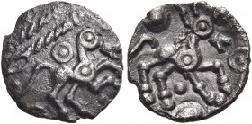 CELTIC, Britain. Catuvellauni. 60-40 BC. Half unit (Silver, 10 mm, 0.44 g, 6 h), Harlow Horses type. Annulate horse prancing to right; above, two 'cor...
