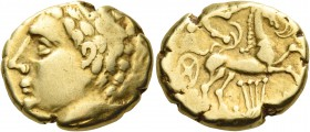 CELTIC, Central Gaul. Arverni. Late 2nd-early 1st century BC. Stater (Gold, 17 mm, 7.40 g, 1 h). Laureate male head to left. Rev. Charioteer, holding ...