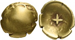 CELTIC, Central Europe. Vindelici. Circa 2nd-1st century BC. Quarter stater or 'Glattes Regenbogenschüsselchen' (Gold, 13 mm, 1.41 g). Almost oblitera...