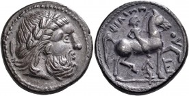 CELTIC, Lower Danube. Uncertain tribe. Early 3rd century BC. Tetradrachm (Silver, 25 mm, 14.11 g), early imitation of Philip II, copying an issue of A...