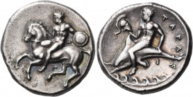 CALABRIA. Tarentum. Circa 344-340 BC. Nomos (Silver, 20 mm, 7.66 g, 3 h). Ephebe, nude, holding a small round shield and a lance with his left hand an...