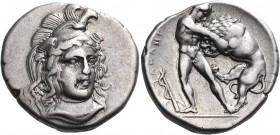 LUCANIA. Herakleia. Circa 340-330 BC. Nomos (Silver, 22 mm, 7.92 g, 12 h), circa 360-350. Head of Athena, three-quarters facing and turned slightly to...
