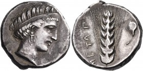 LUCANIA. Metapontum. Circa 340-330 BC. Didrachm or nomos (Silver, 20 mm, 7.70 g, 7 h), very possibly either a contemporary imitation or struck from di...