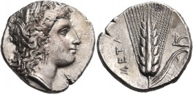 LUCANIA. Metapontum. Circa 330-290 BC. Didrachm or nomos (Silver, 20 mm, 7.83 g, 9 h). Head of Demeter to right, wearing wreath of barley ears and tri...
