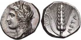 LUCANIA. Metapontum. Circa 330-290 BC. Didrachm or nomos (Silver, 20 mm, 7.90 g, 2 h). Head of Demeter to left, wearing grain wreath, triple pendant e...