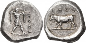 LUCANIA. Poseidonia. Circa 470-445 BC. Stater (Silver, 18 mm, 7.96 g, 12 h). ΠΟΜΕ Poseidon striding to right, brandishing trident and with chlamys ove...