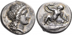 BRUTTIUM. Kroton. Circa 400-325 BC. Stater (Silver, 20 mm, 7.68 g, 6 h), circa 340s BC. ΚΡΟΤΟΝΙΑ - ΤΑΣ Laureate head of Apollo to right, with his long...