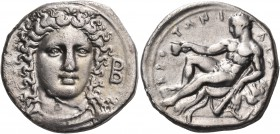 BRUTTIUM. Kroton. Circa 400-325 BC. Nomos (Silver, 21 mm, 7.58 g, 7 h). Head of Hera Lakinia three-quarters facing, turned slightly to the right, wear...