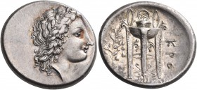 BRUTTIUM. Kroton. Circa 350-300 BC. Stater (Silver, 21 mm, 7.31 g, 6 h). Laureate head of Apollo to right, his hair falling in long curls down the bac...