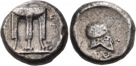 BRUTTIUM. Kroton. Circa 430-420 BC. Stater (Silver, 15 mm, 7.77 g, 4 h), Alliance issue with Temesa. ϘΡΟ ΤΕ ( retrograde ) Tripod. Rev. ϘΡΟ ( retrogra...