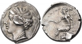 BRUTTIUM. Terina. Circa 440-425 BC. Nomos (Silver, 21 mm, 7.85 g, 1 h). Head of the nymph Terina to left, wearing ampyx, simple torque and a necklace ...