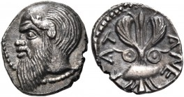 SICILY. Katane. Circa 461-450 BC. Litra (Silver, 10.5 mm, 0.76 g, 1 h). Head of Silenos to left, balding, with an animal ear, and a long beard extendi...