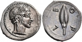 SICILY. Leontinoi. Circa 450-440 BC. Litra (Silver, 12 mm, 0.68 g, 11 h). Laureate head of Apollo to right. Rev. Λ Ε / Ο Ν Upright grain of barley. Bo...
