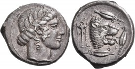 SICILY. Leontini. Circa 450-440 BC. Tetradrachm (Silver, 25 mm, 16.61 g, 9 h). Laureate head of Apollo to right. Rev. VΕ-ΟΝΤΙΝΟ-Ν Lion's head with ope...