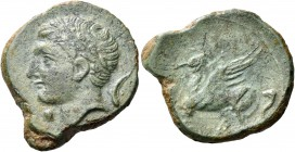 SICILY. Panormos (as Ziz). Circa 336-330 BC. (Bronze, 17 mm, 4.46 g, 9 h). Laureate head of Apollo to left; below chin, pellet; behind Apollo's neck, ...