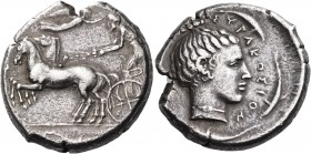 SICILY. Syracuse. Second Democracy, 466-405 BC. Tetradrachm (Silver, 27 mm, 17.11 g, 3 h), c. 440 BC. Bearded charioteer driving quadriga galloping to...