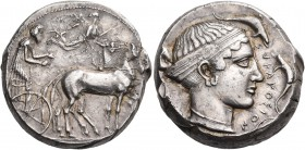 SICILY. Syracuse. Second Democracy, 466-405 BC. Tetradrachm (Silver, 23 mm, 17.27 g, 7 h), c. 430 BC. Bearded charioteer driving quadriga slowly to ri...