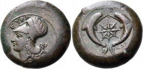 SICILY. Syracuse. Dionysios I, 405-367 BC. Drachm (Bronze, 29 mm, 32.70 g, 8 h), possibly signed by an unidentified engraver, K.... ΣYPA Head of Athen...