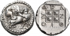 MACEDON. Akanthos. Circa 400-358 BC. Tetradrachm (Silver, 24 mm, 13.91 g, 11 h), c. 370 BC. Lion to right, attacking a bull kneeling to left with upra...