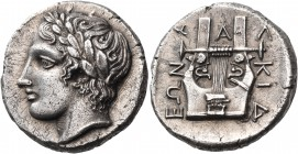 MACEDON, Chalkidian League. Circa 432-348 BC. Tetradrachm (Silver, 23 mm, 14.08 g, 6 h), Olynthos, Am..., 412-410. Laureate head of Apollo to left, so...