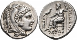 KINGS OF MACEDON. Alexander III 'the Great', 336-323 BC. Tetradrachm (Silver, 26 mm, 17.22 g, 4 h), Lampsakos, c. 328-323. Head of youthful Herakles t...