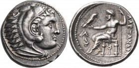 KINGS OF MACEDON. Alexander III 'the Great', 336-323 BC. Tetradrachm (Silver, 25 mm, 17.25 g, 2 h), Amphipolis, c- 315-294. Head of youthful Herakles ...