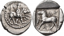 THESSALY. Krannon. Circa 460-400 BC. Drachm (Silver, 21 mm, 6.12 g, 1 h), Xan.... ΧΑ-Ν ( retrograde ) Youthful Hero (Thessalos) walking to right, nude...