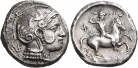 THESSALY. Pharsalos. Late 5th-mid 4th century BC. Drachm (Silver, 19 mm, 5.91 g, 8 h). Head of Athena to right, wearing pearl necklace and a crested A...