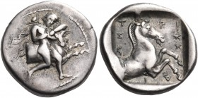 THESSALY. Trikka. Circa 440-400 BC. Hemidrachm (Silver, 17 mm, 2.91 g, 9 h). Youthful hero, Thessalos, nude but for cloak and petasos hanging over his...