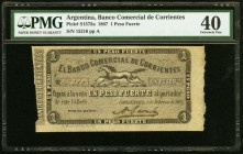 Argentina Banco Comercial de Corrientes 1 Peso Fuerte 1.2.1867 Pick S1575a PMG Extremely Fine 40. Previously mounted.  HID09801242017