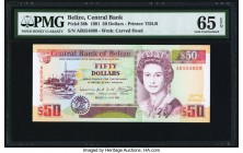 Belize Central Bank 50 Dollars 1.6.1991 Pick 56b PMG Gem Uncirculated 65 EPQ.   HID09801242017