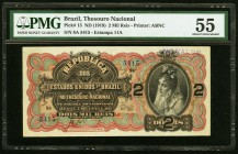 Brazil Tesouro Nacional 2 Mil Reis ND (1918) Pick 13 PMG About Uncirculated 55. Stamp cancelled.  HID09801242017