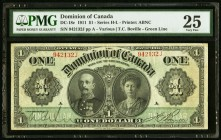 Canada Dominion of Canada 1 Dollar 1911 DC-18c PMG Very Fine 25. Ink.  HID09801242017