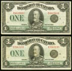Canada Dominion of Canada $1 2.7.1923 DC-29a 2 Examples Very Fine or better.   HID09801242017