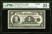Canada Bank of Canada $1 1935 BC-1 PMG Choice Very Fine 35 EPQ.   HID09801242017