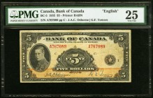Canada Bank of Canada 5 Dollars 1935 BC-5 PMG Very Fine 25. Pinholes.  HID09801242017
