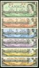 Canada Bank of Canada 1954 Denomination Set of 6 Examples About Uncirculated-Uncirculated.   HID09801242017