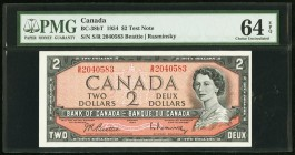 Canada Bank of Canada 2 Dollars 1954 BC-38bT Test note PMG Choice Uncirculated 64 EPQ.   HID09801242017