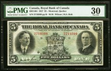 Canada Royal Bank of Canada $5 2.1.1927 Ch. # 630-14-04 PMG Very Fine 30.   HID09801242017