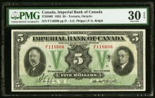 Canada Imperial Bank of Canada 5 Dollars 11.1.1933 Ch. # 375-20-02 PMG Very Fine 30 EPQ.   HID09801242017