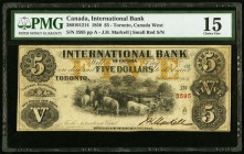 Canada International Bank of Canada $5 15.9.1858 Ch. # 380-10-12-14 PMG Choice Fine 15.   HID09801242017