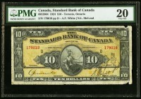 Canada Standard Bank of Canada $10 2.1.1924 Ch. # 695-20-04 PMG Very Fine 20. Pieces missing.  HID09801242017