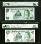 Cayman Islands Currency Board 5 Dollars 1971; 1974 Pick 2a; 6a Two Examples PMG Superb Gem Unc 67 EPQ; Gem Uncirculated 66 EPQ.   HID09801242017