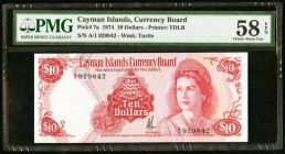Cayman Islands Currency Board 10 Dollars 1974 (ND 1981) Pick 7a PMG Choice About Unc 58 EPQ.   HID09801242017